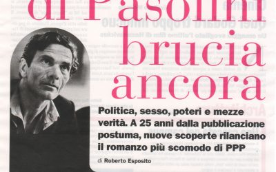 "Article in the journal ""L'Espresso"" for the Conference on ""Petrolio, 25 years after (Bio)politics, eros and truth in the later work of P.P. Pasolini"" – Pisa"